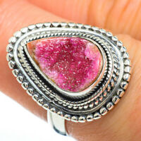 Cobalto Calcite Druzy 925 Sterling Silver Ring Size 7.5 Ana Co Jewelry R45350F