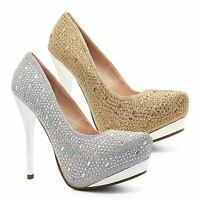 Womens Diamante Court Shoes Pumps Ladies High Heel Platform Party Prom UK 3-8