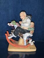 RETIRED Norman Rockwell Art Porcelain GRAMPS At The Reins Rocking Horse ❤️sj8m