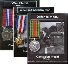 REPRODUCTION 3 Miniature Wrld War II WW2 British War Medals 18-20mm *[3MEDWW2]