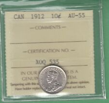 1912 Canadian 10 Cents Silver Coin - ICCS Graded AU-55