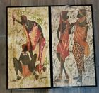 Set of 2 Framed SIGNED Tribal African Handwoven Painted Wall Hanging Tapestry