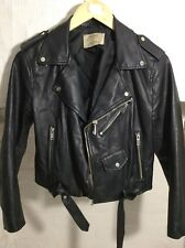 ZARA BASIC - Women's Faux Leather Jacket - Size 12 (M) - Black - Biker - Soft
