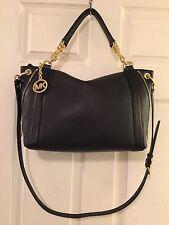 NWT Michael Kors Large Stanthorpe Black Leather Chain Satchel Shoulder Cross Bag