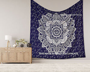 Indian Blue Silver Ombre Mandala Tapestry Cotton Wall Hanging Bohemian Bedspread