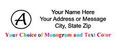"150 pcs Personalized Monogram  Return / Mailing Address labels - 1"" x 2.625"""
