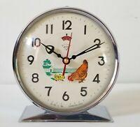 "Vintage Animated Alarm Clock Diamond  Pecking Chicken Hen  w/ Box 5"" Tall"