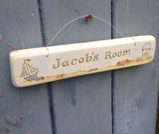Original handmade/hand painted wood personalised nautical name plaque/ boy/girl