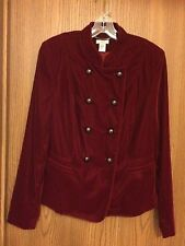 NWOT Cache Red Velvet Military Style Jacket Size 12