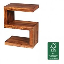 """Wohnling solid wood side table """"S"""" Cube 45 x 30 x 60cm with shelf, furniture NEW"""