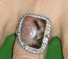 Rhodonite 925 Sterling Silver Plated Ring US Size 8.5 ancient stone!!