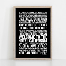More details for eagles hotel california song lyrics poster print wall art