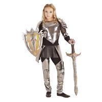 Teen Girls Warrior Snow Knight Silver Armor Halloween Costume Tunic Pants XS