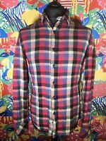 Cool Men's LEVI'S Check / Tartan / Lumberjack Shirt Size M Slim Fit Cotton Logo