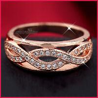 18K ROSE GOLD GF WOMENS GIRLS SOLID INFINITY WEDDING CRYSTAL ETERNITY BAND RING
