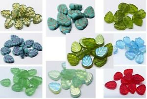 10 (mm) CZECH GLASS LEAF DROP BEADS FOR JEWELLERY MAKING - 10 COLOURS - (30pcs)