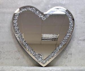 Heart Shaped Diamond Crystal Rhombus Wall Mirror - 70cm