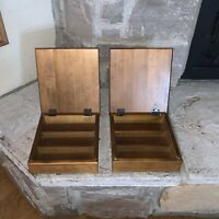 Lot Of 2 Vintage Cognac Brown Wood Hinged Cigar/Sewing/Jewelry Box 9 x 8 x 2.50""