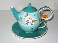 Tea for one Set Milli Einhorn Handbemalt Teekanne Tasse Deckel