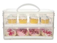 SNAPWARE Snap 'N Stack 2 LAYER CUPCAKE & COOKIE CARRIER *Plastic Holds 24 CAKES
