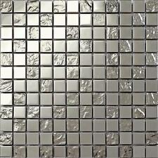 Silver Smooth Stainless Steel and Textured Glass Mosaic Wall Tiles  MT0129