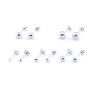 Unisex 925 Sterling Silver BALL EAR STUDS Upper Ear Earrings 2 - 6mm