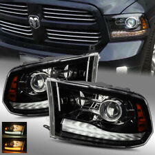 For 13-18 Ram 1500/2500/3500 Polished Black Stock Projector Headlights Assembly