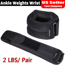 2 lbs - (2)1 lbs pair Adjustable Ankle Wrist Arm Weights walking gym fitness