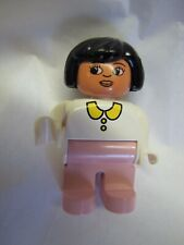 """Lego Duplo Black-Haired WOMAN LADY MOM 2.5"""" FIGURE Pink Pants White Blouse Rare"""