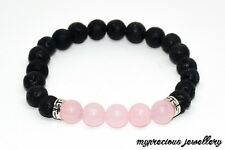 Natural Pink Quartz Lava Volcanic Stone Gemstone Bracelet Elasticated Healing