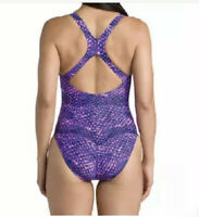 SPEEDO  women's muddled print  purple/ pink Racer back  one piece  swimsuit
