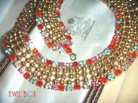 VINTAGE 1960s HARLEQUIN Crystal Rhinestone Cleopatra Collar Glitzy NECKLACE