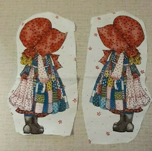 """1970s Vtg. Holly Hobbie 10"""" Printed Cloth Dolls *2 Unfinished Project Pillows"""