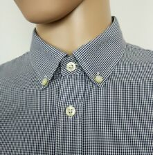 Pretty Green Mens Shirt Navy White Gingham Check Oxford Mod Size L Chest 42""