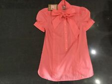 NWT Juicy Couture New & Genuine Cotton Pussy Bow Pink Blouse Small US 4 UK 8/10