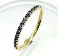 Half Eternity Blue Sapphire Wedding band or stacking rings,comfort fit,14K. Gold