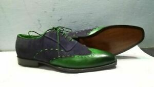 Two Tone Navy Blue Suede Green Wing Tip Burnished Toe Real Leather Shoes