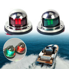 1 Pair 12v LED Bow Navigation Light Red Green Stainless Steel Marine Boat Yacht