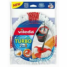 2 X Vileda EasyWring and Clean Turbo Microfibre 2in1 Replacement Refil Mop Head