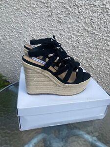 Steve Madden UK 6.5 (US 8.5) Kaya Black Wedges Lace Up Espadrille Sandals.Summer