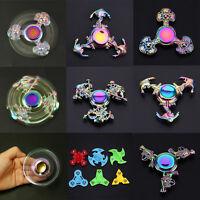 Rainbow Gyro Finger Spinner Fidget Toys Alloy Hand Spinners Autism Kids Gift New