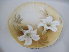 1920's Reinhold Schlegelmilch RS Germany Tan White Lily Open Handled Plate