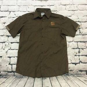UPS Uniform Men's Shirt Wear Guard Short Sleeve Button Up Brown Size Medium M