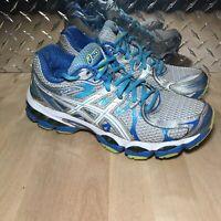 Asics Gel Nimbus 16 T485N Women's Athletic Running Shoes Gray Blue Silver Sz 8