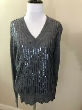 NEW With Tags: Women's J CREW Gray V Neck Sweater w/ Sequins Medium