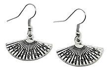 Fan Earrings Drop Dangle Silver Tone Jewellery