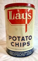RARE VINTAGE 1940's H.W. LAY & CO. LAY'S POTATO CHIPS ORIGINAL TIN COLLECTABLE