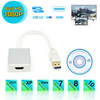 USB 3.0 To HDMI HD 1080P Video Cable Adapter Converter For PC Laptop HDTV LCD