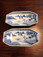 Two Hand Painted Japanese Blue And White Sushi Plates