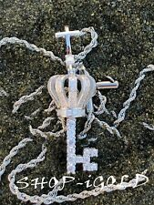 """key Pendent with 24""""Rope Chain Men's Ice Out Rhodium Finish Lucky"""